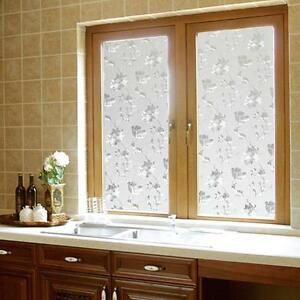 Decorative Floral Glass Shower Door 45x100cm Frosted Glass Window Door Flower Sticker Film Bathroom Decor