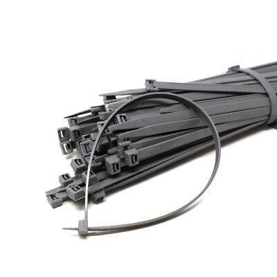 100 - 1000, 8mm X 375mm Heavy Duty Cable Tie Grey Nylon Wire Zip Ties Tidy