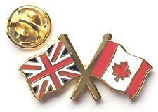 Union Jack & Canada Flags Friendship Courtesy Enamel Lapel Pin Badge *New Size*