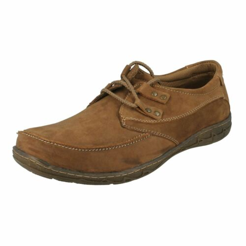 A2R115  MAVERICK MENS LACE UP CASUAL LEATHER NUBUCK EVERYDAY SMART SHOES