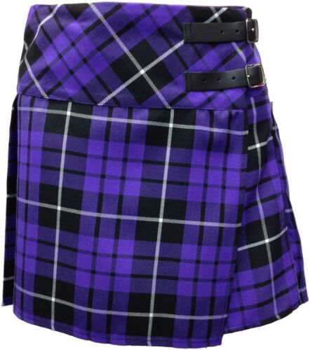 "14/"" Size 6-16 Short Leather Strap Skirt Purple Tartan Skirt"