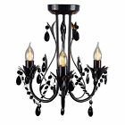 Shabby French Provincial BLACK CRYSTAL PENDANT LEAF CHANDELIER 3 Light Ceiling