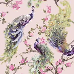 Menali-Peacock-Glitter-Wallpaper-Pink-Green-Birds-Leaf-Floral-Vinyl-Holden-Decor