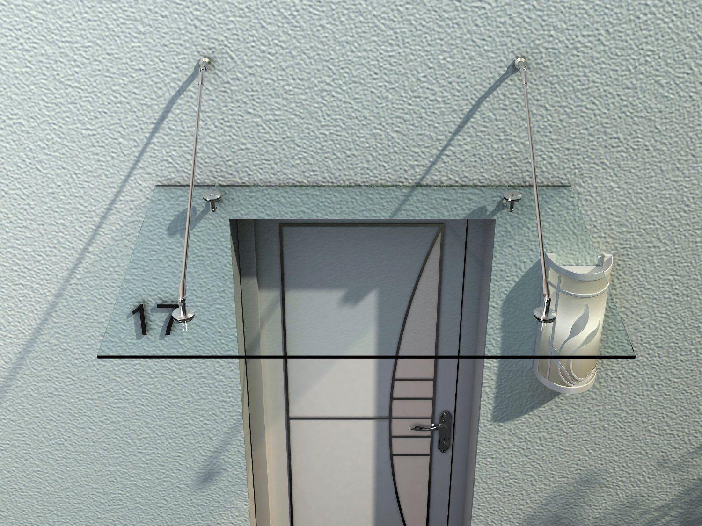 HOMCOM Glasvordach Haustür Vordach Türvordach Edelstahl Glas Klarglas VSG 150X90