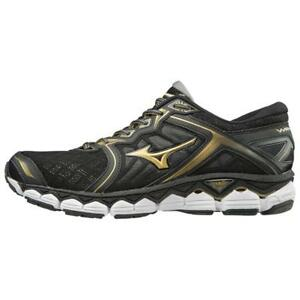 7014edfb415a3 Mizuno Wave Sky Black Gold Men Max Neutral Running Shoes Tenis ...