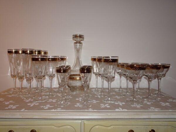25 Teiliges Gläser Set Goldrand Trauben Gravur Trinkgläser Vintage Karaffe Wein