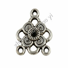 30Pcs Tibetan Silver Flower Connectors Charms Pendants Craft DIY 20x17mm