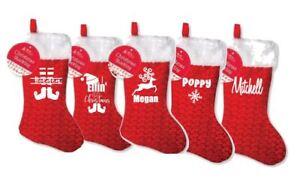 Personalizzato-Di-Natale-calza-Famiglia-Set-Babbo-Natale-Sacco-Calze-di-Natale-Glitter