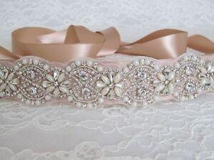 bf760fcafc Bridal Pearl Rhinestone Wedding Dress Sash Belt with Champagne Sash ...