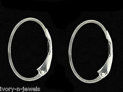 1 Pair INTERCHANGEABLE Oval Leverback Earring Wires Sterling Silver 12x17mm