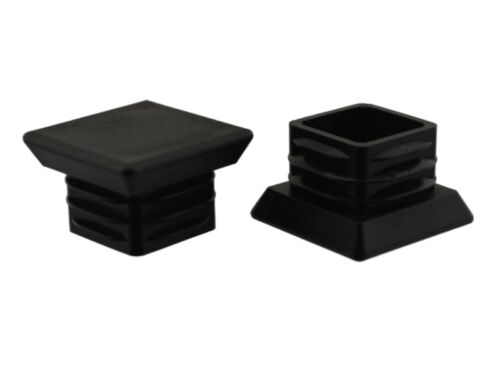 4 x Fussstopfen 25 x 25 mm schwarz XL-Standfläche Fusskappen Kappen Gartenstuhl