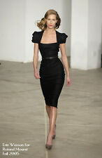 $3K ICONIC most wanted ROLAND MOURET GALAXY black wool  full figure US 10 dress