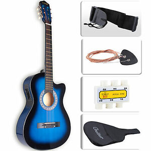 cutaway design electric acoustic guitar w guitar case strap tuner in blue ebay. Black Bedroom Furniture Sets. Home Design Ideas