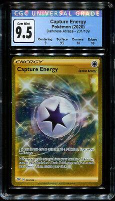 PSA Capture Energy Gold 201//189 Darkness Ablaze CGC 9.5 GEM MINT