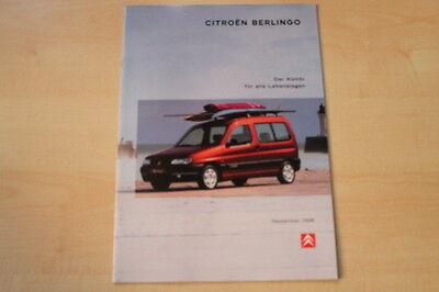 75102) Citroen Berlingo Prospekt 09/1998 Ausreichende Versorgung