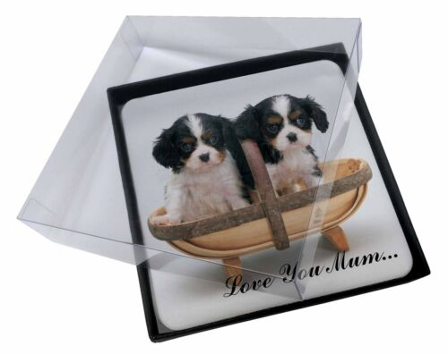 4x King Charles Puppies 'Love You Mum' Picture Table Coasters Set i, ADSKC4lymC