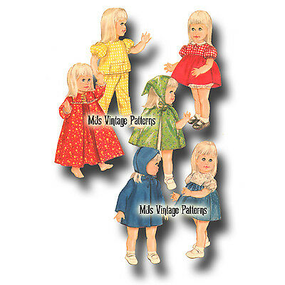 "Vtg 60s Toddler Doll Dress Pattern ~ 17/"" 18/"" 19/"" 20/"" Tootles Chatty Cathy"