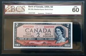 1954-Bank-of-Canada-2-Devil-039-s-Face-CHANGEOVER-I-B-Prefix-BCS-UNC-60-BC-30b