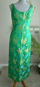 Vintage-60s-Green-Maxi-Dress-Asian-Oriental-Cocktail-Party-SZ-Medium-8