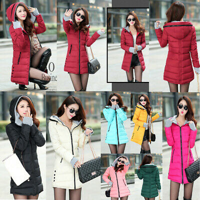 Ladies Long Padded Quilted Winter Women Puffa Parka Jacket Warm Hooded Coat Size