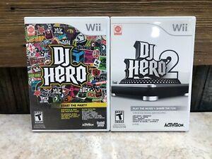 DJ Hero 1 and 2 Nintendo Wii 2 Game Bundle - COMPLETE - FREE SHIPPING & RETURNS