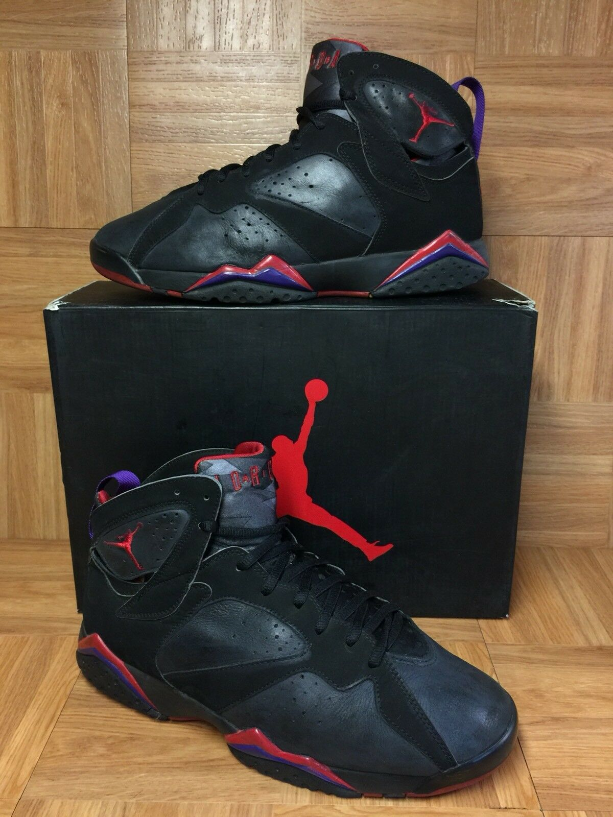 VNTG  Nike Air Jordan VII 7 Retro 2002 Raptor Charcoal True Red S 11 304775-006