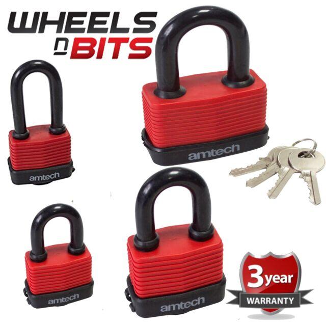 Heavy Duty Weatherproof Padlock Laminated Lock Steel Shackle with 4 Keys