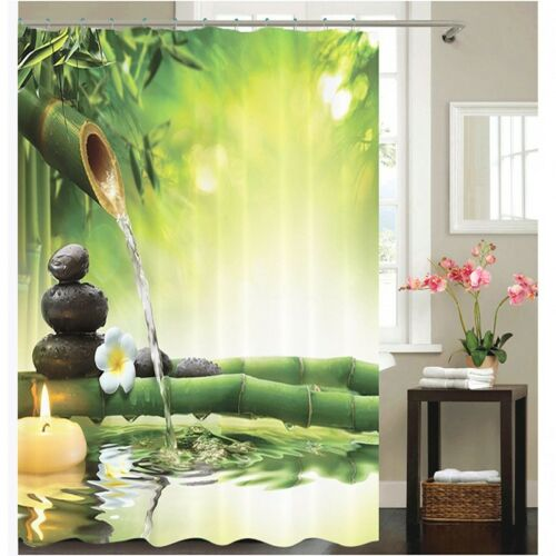 3D Zen Bamboo Fabric Waterproof Shower Curtain Set Bathroom /& Hook 180*180cm US~