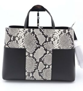NWT-Tory-Burch-Block-T-Embossed-Snake-Leather-Triple-Compartment-Tote-Bag-598