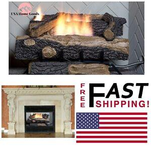 "Ventless Natural Gas Fireplace Logs 24"" Oakwood W ..."