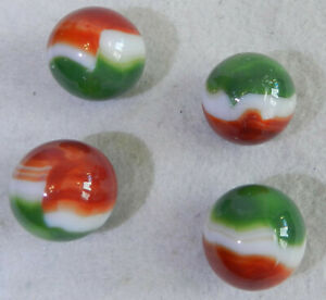 11156m-Vintage-Group-of-4-Vitro-Agate-All-Red-Shooter-Marbles-84-and-86-In
