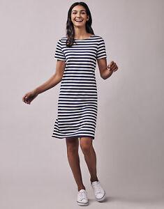 New Crew Clothing Womens Breton Jersey Dress in Navy/White