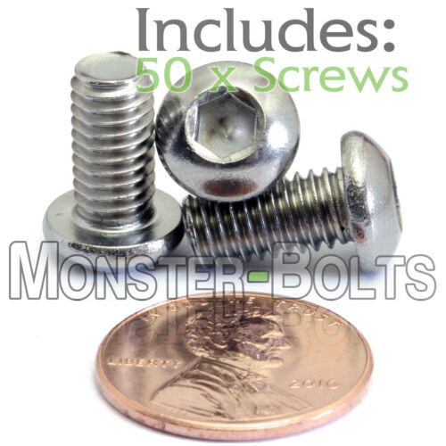 A2 Stainless Steel BUTTON HEAD Screws ISO 7380 M6 Qty 50 6mm x 1.00 x 12mm