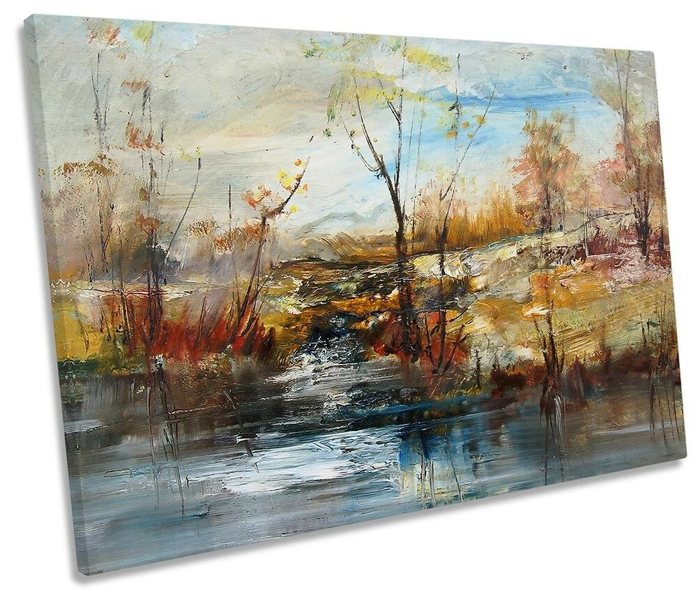 Woodland braun Abstract River SINGLE CANVAS wand kunstWORK drucken kunst