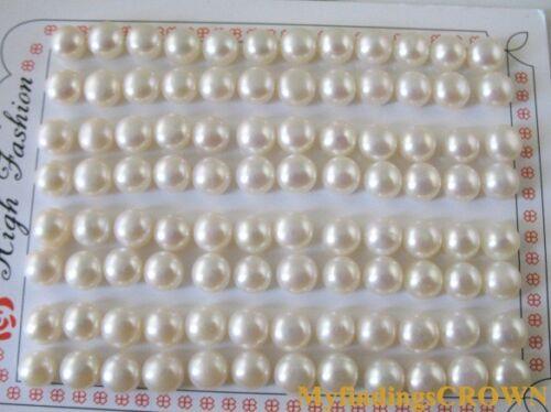 20 paires de 7 mm AAA Demi-Percé Perles W2938
