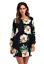 Womens-Flower-Print-long-Sleeve-Top-Blouse-mini-dress-Casual thumbnail 4
