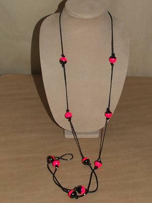"""Vintage 60s MOD Black & Fluorescent Pink Ball Bead Celluloid LONG Necklace 60"""""""