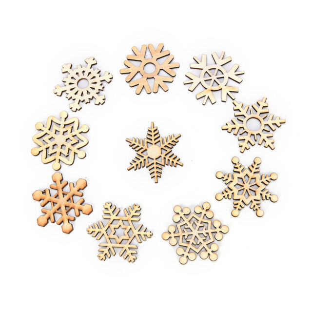 10 Assorted Wooden Snowflake Laser Cut Christmas Tree Hanging Decor Ornament JN
