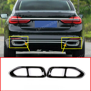 Steel Rear Exhaust Muffler Tail Pipe Cover For Bmw 7 Series G11 2016 2018 Black Ebay