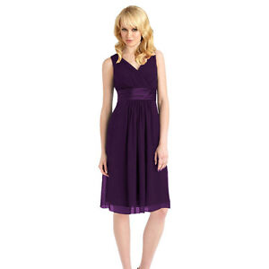 Purple Chiffon Knee Length Dress