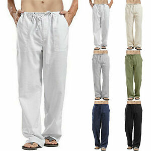 Summer-Mens-Casual-Cotton-Linen-Baggy-Harem-Pants-Beach-Yoga-Loose-Long-Trousers