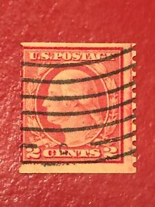 US-SCOTT-Cat-491-Used-2c-Guide-Line-Single-COIL-Stamp-CV-800-FREE-SHIPPING