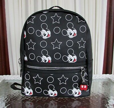 New Disney MICKEY MOUSE Rucksack Backpack Black Faux Leather Bag Primark