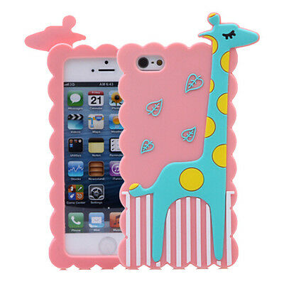 3D Cartoon Cute Animal Giraffe Soft Silicone Rubber Cover Case F iPhone 4S 5 5S