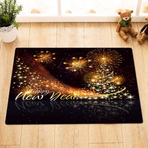 Happy New Year Fantasy Festival Fireworks Shower Curtain Hooks Bathroom Mat LB