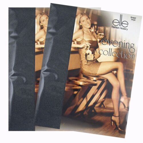 2 PAIRS OF ELLE LADIES EVENING COLLECTION TIGHTS WITH LYCRA* STEEL GREY E642