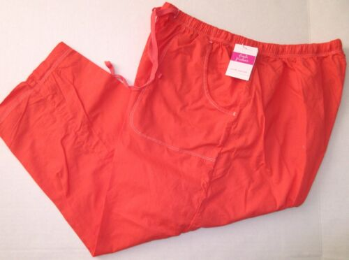 FRESH PRODUCE 1X Red CORAL Topstitch Sheeting Cotton Capris NWT New 1X