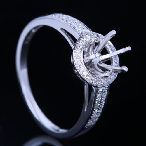 5.75-6.5mm Round Halo Diamonds Wedding Ring Semi Mount Setting 14K White Gold