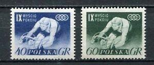 35654) Poland 1956 MNH Peace Bicycle Race, V Scott #727/28