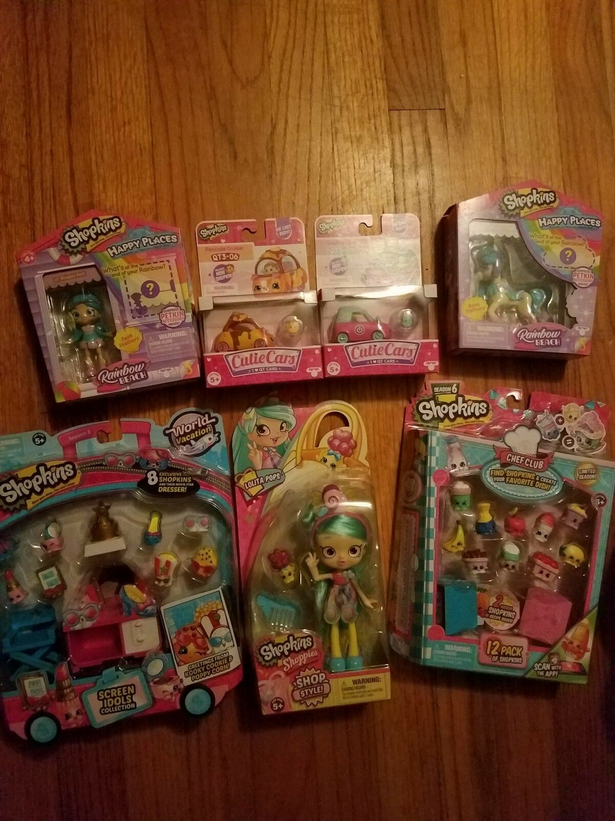New Lot Shopkins Happy Places Rainbow Unicorn Cutie Cars World Vacation Shoppies